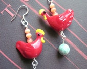 Red Chickens with Eggs - Farmgirl Earrings