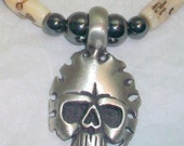 Bone and Hematite Skull Necklace