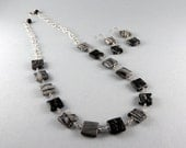 Sold custom order for Toni -Retro Squares Earrings and Necklace Set with Free Shipping