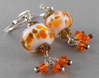 Fire Orange and White Traditional Chinese New Year Lantern Earrings with Free USA Shipping