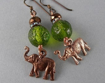 Copper and Green Glass Safari Elephant Earrings with Free USA Shipping