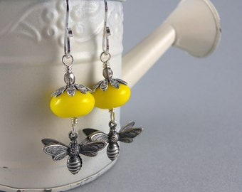 Yellow and Silver Flower Busy Bee Earrings with Free USA Shipping