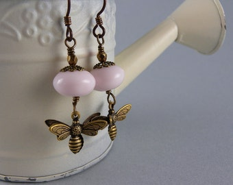 Pink and Brass Flower Busy Bee Earrings with Free USA Shipping
