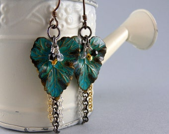 Bohemian Nature Teal Gold and Black Leaf Earrings with Free USA Shipping