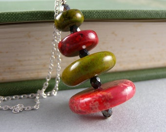 Forest Pine Tree Gemstone Sterling silver and Czech Glass Necklace with Free USA Shipping