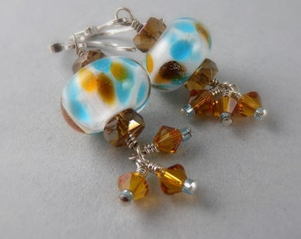Water Dragon Blue White and Amber Traditional Chinese New Year Lantern Earrings with Free USA Shipping
