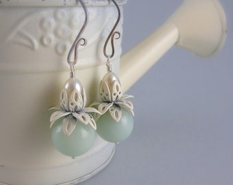 Shabby Chic Cream and Mint Lotus Flower Earrings with Free USA Shipping
