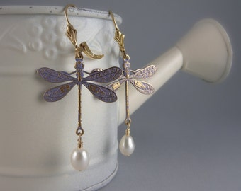 Lavender and Gold Shabby Chic Dragonfly Earrings with Free USA Shipping