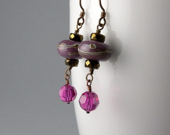 Earth and Sky Purple and Brown Traditional Chinese New Year Lantern Earrings with Free USA Shipping