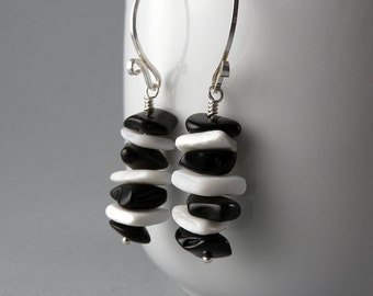 Black and White Stripe Earrings with Free USA Shipping