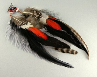 Rare Orange Brown White Gray and Black Fashion Feather Earrings with Free USA Shipping