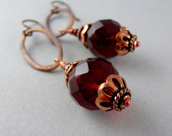 Red Glass and Copper Earrings with Free USA Shipping