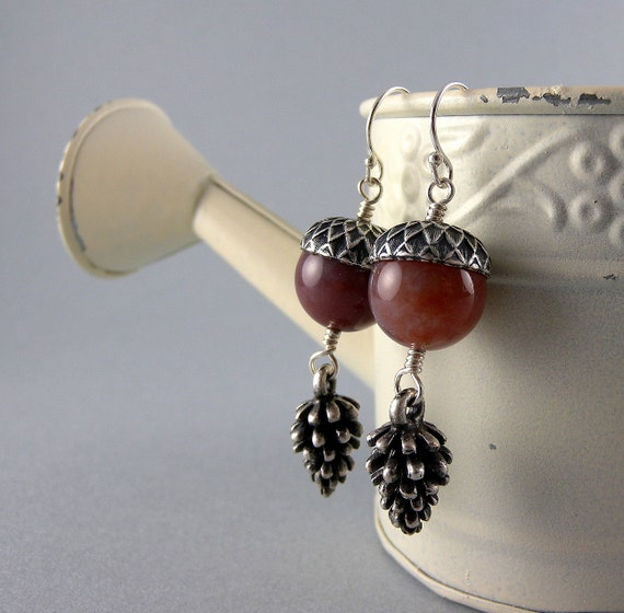 Mauve Acorn and Pinecone Earrings with Free Shipping