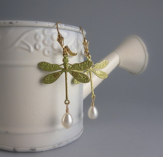 Green Shabby Chic Dragonfly Earrings with Free Shipping