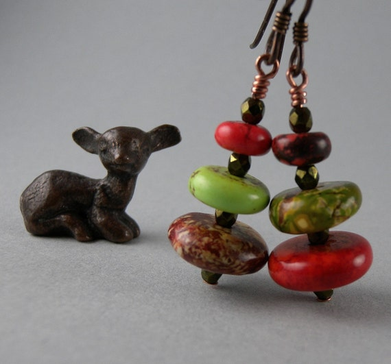 Forest Pine Tree Red and Green Earrings with Free USA Shipping