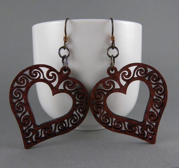 All Heart Purpleheart Wood Earrings with Free Shipping