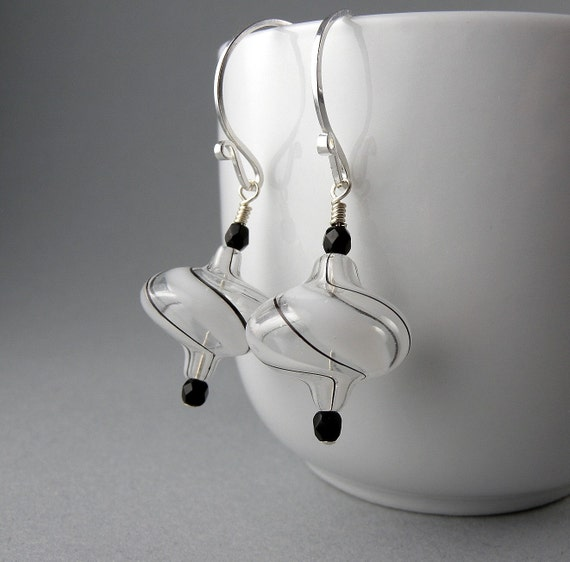 Black and White Swirl Top Earrings with Free Shipping