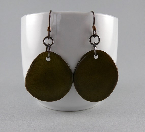 Army Green Eco Friendly Earrings with Free Shipping