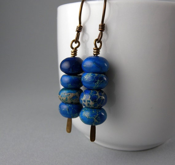 Denim Blue Jean Stack Up Earrings with Free Shipping