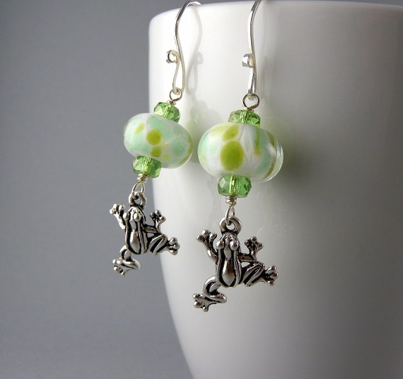 Lily Frog Lime Green and White Earrings with Free USA Shipping