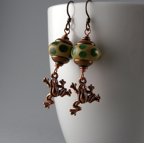 Green and Copper Lily Pond Frog Earrings with Free USA Shipping