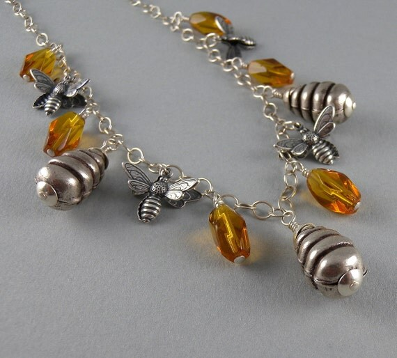 Busy Beehive Bee Beekeeper and Honey Necklace and Earring Set with Free Shipping