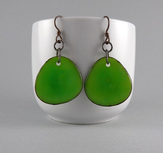 Lime Green Tagua Nut Eco Friendly Earrings with Free Shipping