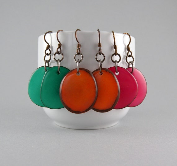 Tagua Nut Earring Special -You pick 3 pair for 33 with Free Shipping