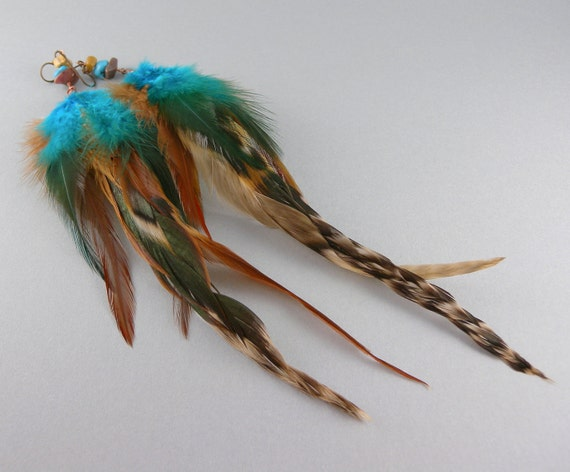 Turquoise and Cinnamon Fashion Feather Earrings with Free Shipping