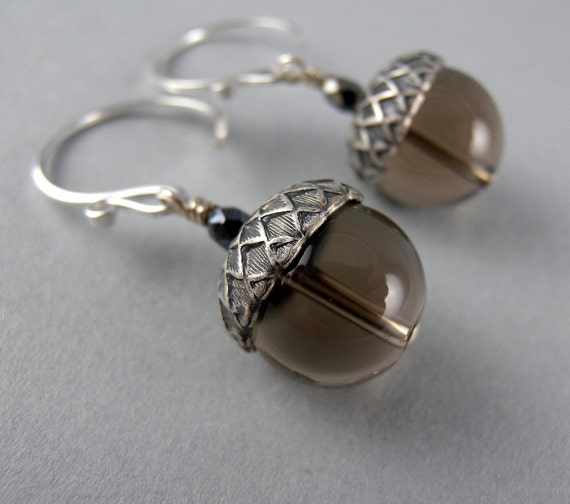 Smoky Quartz Stone Acorns Earrings with Free Shipping