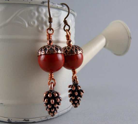 Orange Rust Acorn and Pinecone Earrings with free shipping