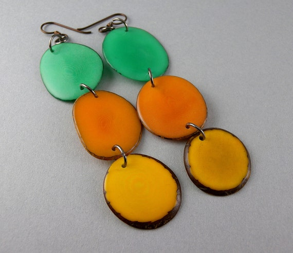 Teal, Orange, and Yellow Shoulder Duster Trio of Tagua Nut Eco Friendly Earrings with Free Shipping