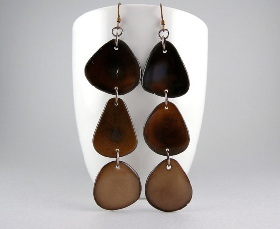 Ombre Coffee, Chocolate, and Suede Shoulder Duster Trio of Tagua Nut Eco Friendly Earrings with Free Shipping