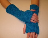 CLEARANCE PRICE Turquoise Crochet Fingerless Gloves or Wristwarmers - Size S  (womens)