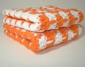Orange and White Hand Crocheted Dishcloths - Set of 2