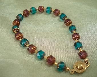 Purple and Aqua Teal Glass Beaded Bracelet