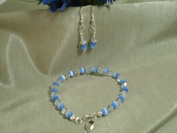 SALE - Spring Sky Blue Hope Bracelet and Earring set