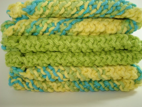 Green Blue and Yellow Hand Knitted Dishcloths - Set of 3