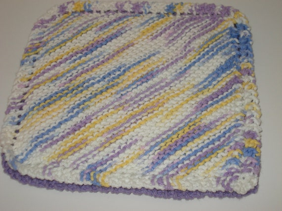SALE Handknitted Potholder - Purple and Yellow