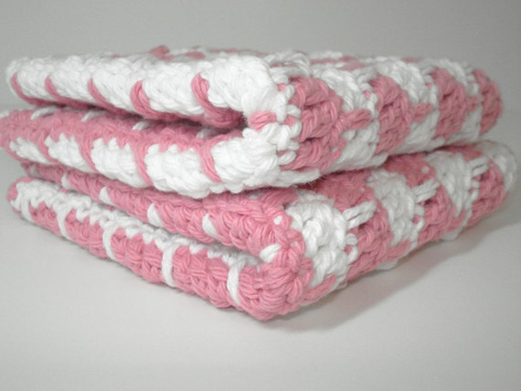 Pink and White Hand Crocheted Dishcloths - Set of 2