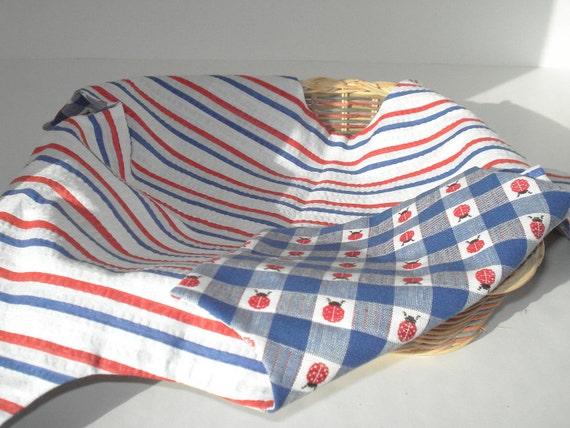 Bread Basket Liner Red White and Blue Stripe Ladybug Print