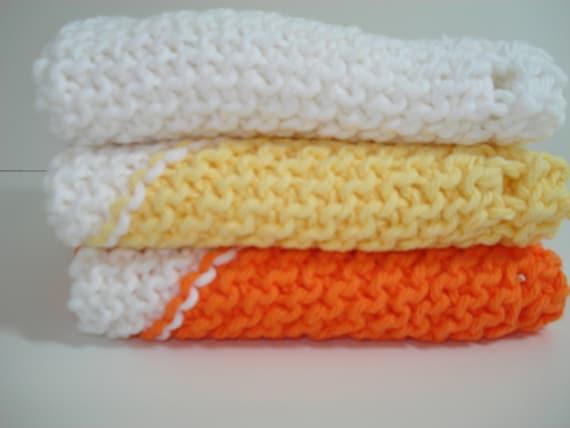Orange Yellow and White Handknitted Dishcloths Washcloths - Set of 3