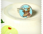 Vintage Plate Ring Deer on Blue