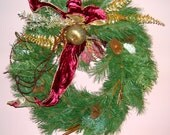 Christmas Gold and Burgundy Wreath