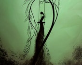 Modern Pale Green Tree Print - Heartache and poetry 14 by Jaime Best
