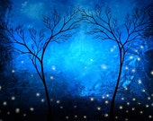 Blue Tree Print - The Lights of Twilight by Jaime Best
