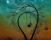 Fantasy Tree Print in Aqua and Brown - Heartache and poetry 20 by Jaime Best