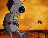 Cute Robot Print -This Robot is Bored - by Mike Best
