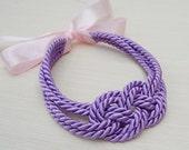 Cute purple rope sailor love knot necklace
