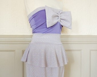 Lilac and gold geometric lurex 80s pastel girly peplum body con skirt